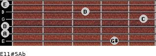 E11#5/Ab for guitar on frets 4, 0, 0, 5, 3, 0