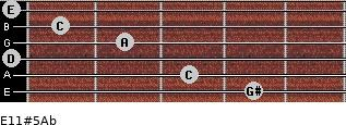 E11#5/Ab for guitar on frets 4, 3, 0, 2, 1, 0