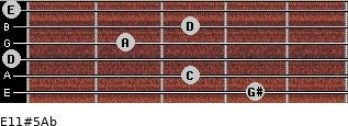 E11#5/Ab for guitar on frets 4, 3, 0, 2, 3, 0