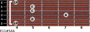 E11#5/Ab for guitar on frets 4, 5, 7, 5, 5, 4