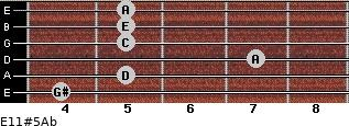 E11#5/Ab for guitar on frets 4, 5, 7, 5, 5, 5