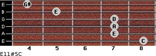 E11#5/C for guitar on frets 8, 7, 7, 7, 5, 4