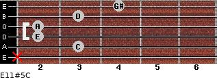 E11#5/C for guitar on frets x, 3, 2, 2, 3, 4