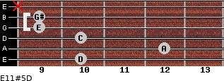 E11#5/D for guitar on frets 10, 12, 10, 9, 9, x