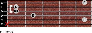E11#5/D for guitar on frets x, 5, 2, 1, 1, 5