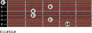E11#5/G# for guitar on frets 4, 3, 2, 2, 3, 0