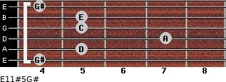 E11#5/G# for guitar on frets 4, 5, 7, 5, 5, 4