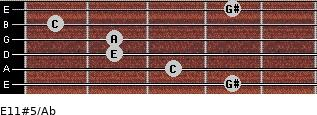 E11#5/Ab for guitar on frets 4, 3, 2, 2, 1, 4