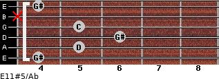 E11#5/Ab for guitar on frets 4, 5, 6, 5, x, 4