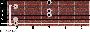 E11sus4/A for guitar on frets 5, 5, 7, 7, 5, 7