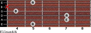 E11sus4/A for guitar on frets 5, 7, 7, 4, x, 5