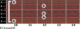 E11sus4/D for guitar on frets 10, 12, 12, x, 12, 10