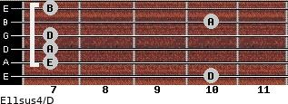 E11sus4/D for guitar on frets 10, 7, 7, 7, 10, 7