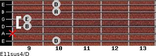 E11sus4/D for guitar on frets 10, x, 9, 9, 10, 10