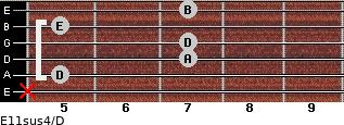 E11sus4/D for guitar on frets x, 5, 7, 7, 5, 7