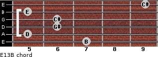 E13/B for guitar on frets 7, 5, 6, 6, 5, 9