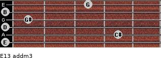 E13 add(m3) for guitar on frets 0, 4, 0, 1, 0, 3