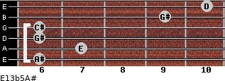 E13b5/A# for guitar on frets 6, 7, 6, 6, 9, 10