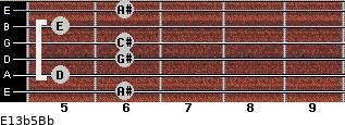 E13b5/Bb for guitar on frets 6, 5, 6, 6, 5, 6
