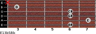 E13b5/Bb for guitar on frets 6, 7, 6, 6, 3, x