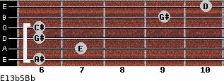 E13b5/Bb for guitar on frets 6, 7, 6, 6, 9, 10