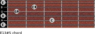 E13#5 for guitar on frets 0, 3, 0, 1, 2, 0