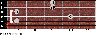 E13#5 for guitar on frets x, 7, 10, 7, 9, 9