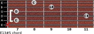 E13#5 for guitar on frets x, 7, 11, 7, 9, 8