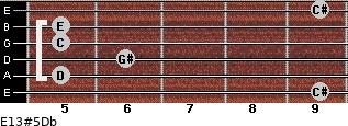 E13#5/Db for guitar on frets 9, 5, 6, 5, 5, 9