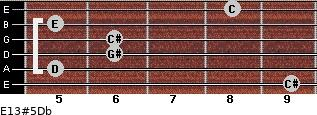 E13#5/Db for guitar on frets 9, 5, 6, 6, 5, 8