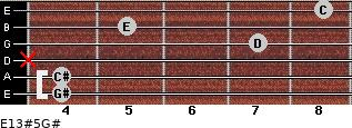 E13#5/G# for guitar on frets 4, 4, x, 7, 5, 8