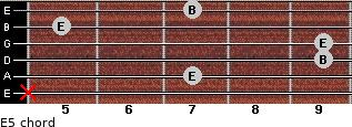 E5 for guitar on frets x, 7, 9, 9, 5, 7