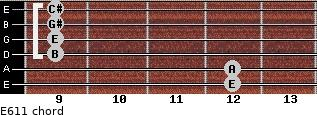 E6/11 for guitar on frets 12, 12, 9, 9, 9, 9