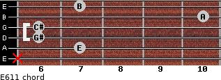 E6/11 for guitar on frets x, 7, 6, 6, 10, 7