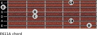 E6/11/A for guitar on frets 5, 4, 2, 2, 0, 4