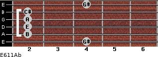 E6/11/Ab for guitar on frets 4, 2, 2, 2, 2, 4