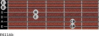 E6/11/Ab for guitar on frets 4, 4, 2, 2, 0, 0