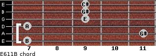E6/11/B for guitar on frets 7, 11, 7, 9, 9, 9