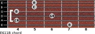 E6/11/B for guitar on frets 7, 4, 6, 4, 5, 5
