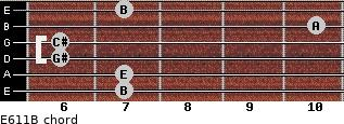 E6/11/B for guitar on frets 7, 7, 6, 6, 10, 7