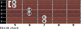 E6/11/B for guitar on frets 7, 7, 6, 6, 5, 5
