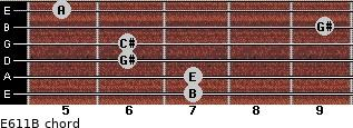 E6/11/B for guitar on frets 7, 7, 6, 6, 9, 5