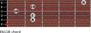 E6/11/B for guitar on frets x, 2, 2, 1, 2, 5