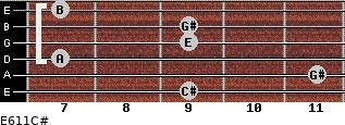 E6/11/C# for guitar on frets 9, 11, 7, 9, 9, 7