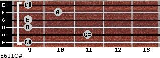 E6/11/C# for guitar on frets 9, 11, 9, 9, 10, 9