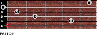 E6/11/C# for guitar on frets x, 4, 2, 1, 0, 5