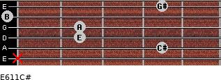 E6/11/C# for guitar on frets x, 4, 2, 2, 0, 4
