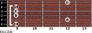 E6/11/Db for guitar on frets 9, 12, 9, 9, 9, 12