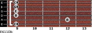 E6/11/Db for guitar on frets 9, 12, 9, 9, 9, 9