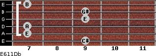 E6/11/Db for guitar on frets 9, 7, 7, 9, 9, 7